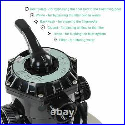 16 Swimming Pool Pump Sand Filter Above Inground Pond Fountain Fit 0.35-0.75HP