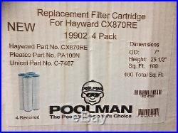 4 PACK Poolman 19902 Hayward CX870RE, Pleatco PA100N, Unicel C7487 Pool Filter