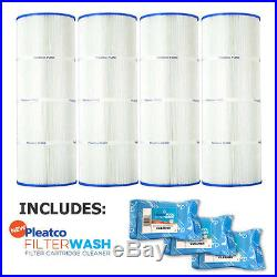 4 Pack Pleatco PA81-PAK4 Filter Cartridge Hayward C3025 with 3x Filter Washes