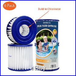 6 Pack Type D Replacement Pool Filter Cartridges W Build-in Chlorinator USA MADE