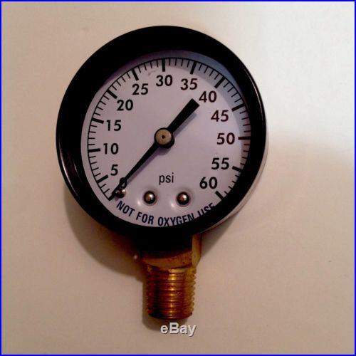 Filter Pressure Gauge Lower Mount 0-60 psi 1/4 Pool Spa