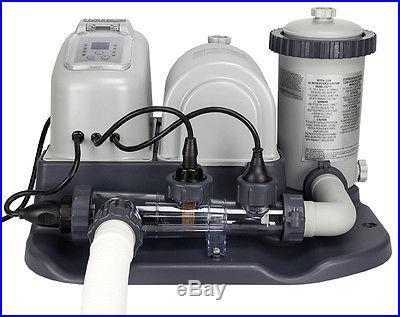 INTEX Krystal Clear Saltwater System Pool Chlorinator & 1200 GPH Pump with GFCI