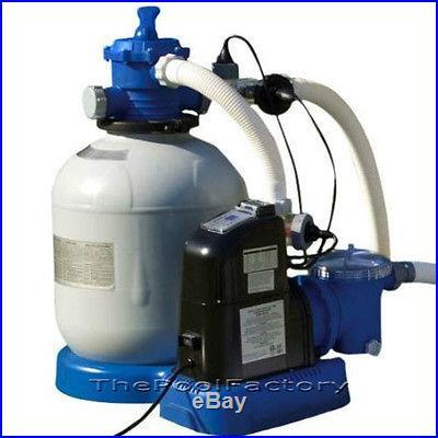 Intex 1600 Sand Filter Pump & Salt Water Generator Swimming Pool System #56677EG