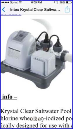 Intex Krystal Clear Saltwater System Pool Cleaner Filter (salt NOT Included)