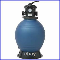 Pool Sand Filter with 6 Position Valve Blue 18 inch