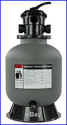 Radiant 19 Inch Above Ground Swimming Pool Sand Filter with6-Way Valve